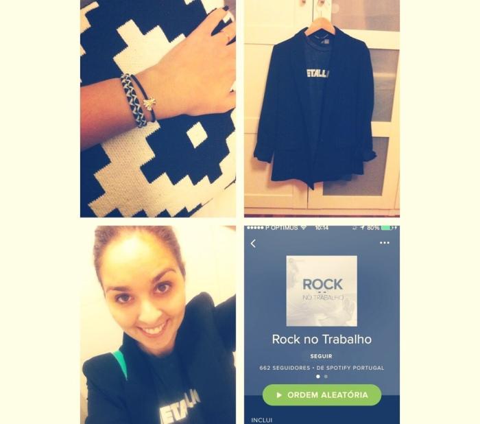 Elásticos Oysho, t-shirt Metallica da H&M, blazer Mango, banda sonora Rock no Trabalho do Spotify.